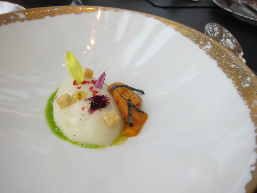 The Amuse bouche: Cauliflower panna cotta with uni