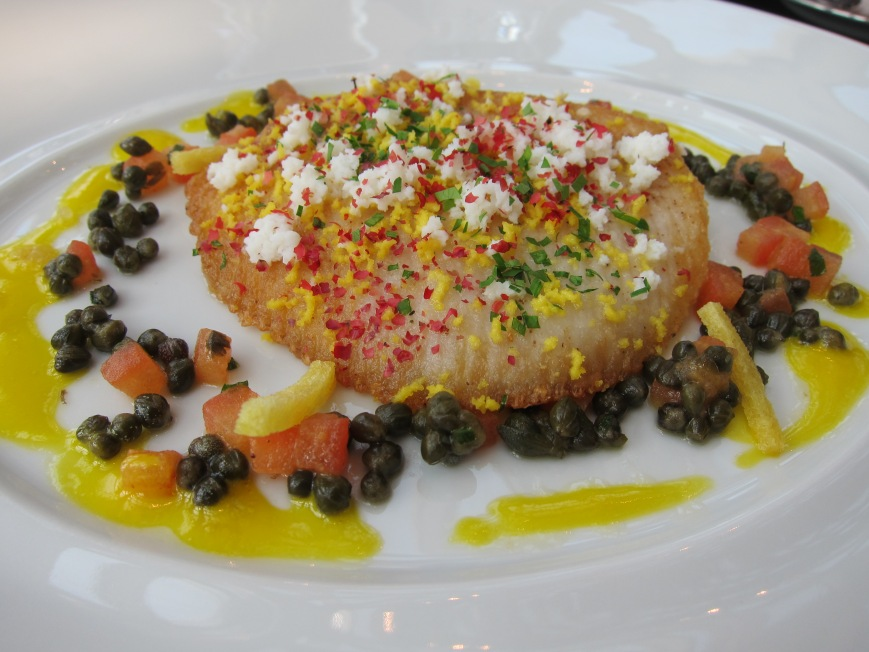 "Pan-fried skate wing ""Grenobloise"" style with lemon caviar"