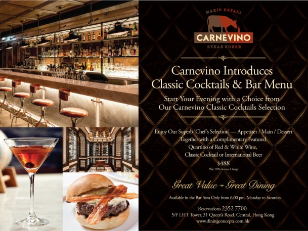 Carnevino Cocktai;s and Bar menu