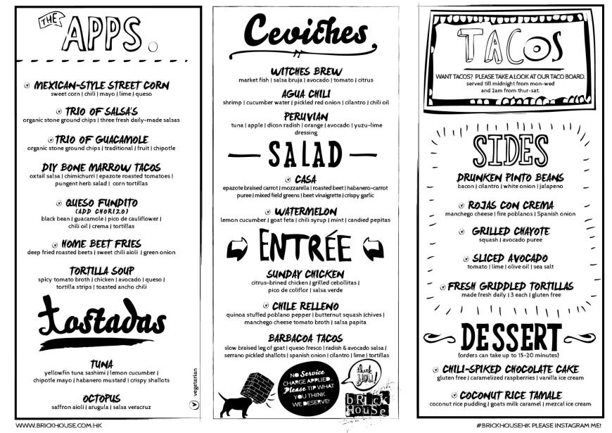 Brickhouse Menu