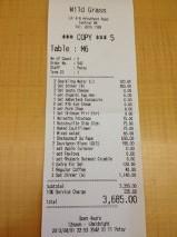 Wild Grass receipt