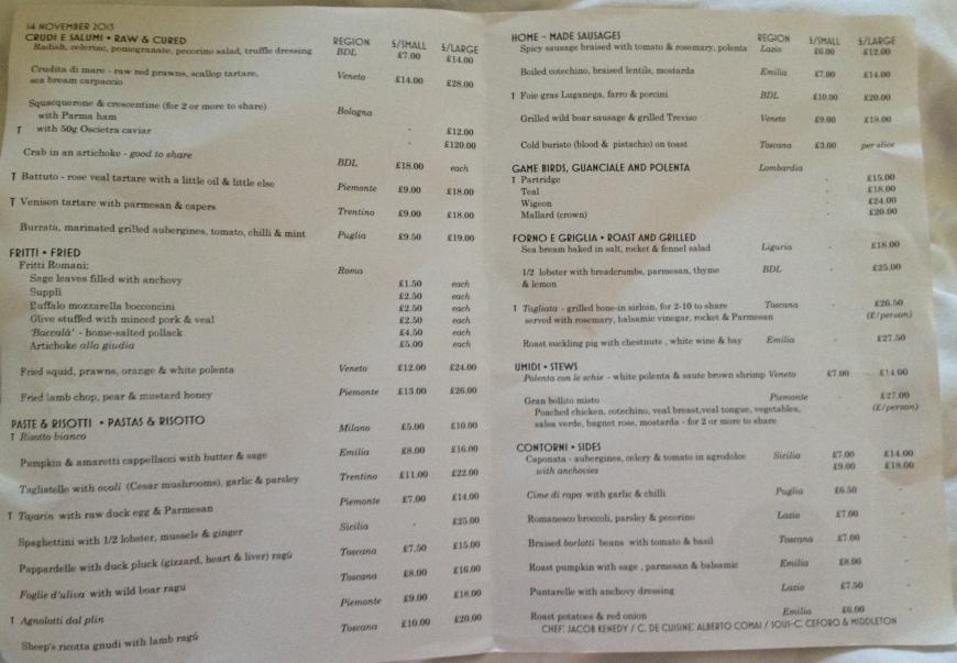 Bocca menu