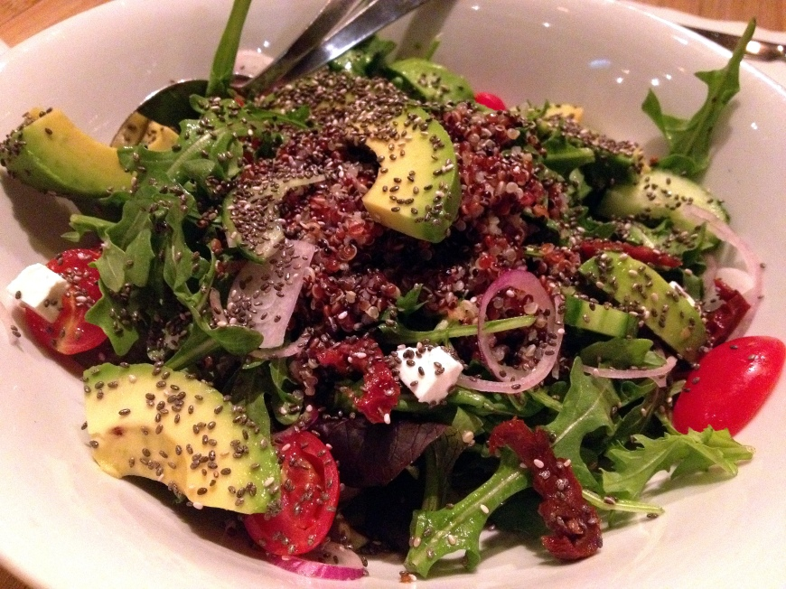 Superfood Duo salad: Tricolour quinoa, chia seeds, arugula, avocado, shallot, sundried tomato, basil, chive oil, cucumber, feta, lemon, cherry tomatoes HK$118