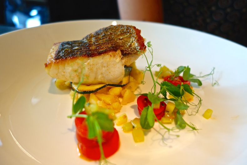 Sea Bass, Crushed Potatoes, Tomato, Cucumber, Caper Sauce