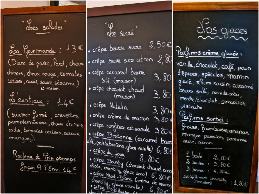 Charroux menu