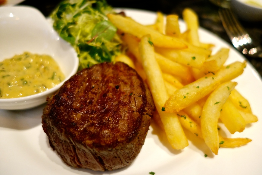 Beef Filet Mignon Frites - matchstick fries, Bearnaise Sauce