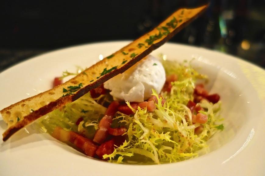 Frisée Salad - poached egg, lardons, Pommery mustard dressing