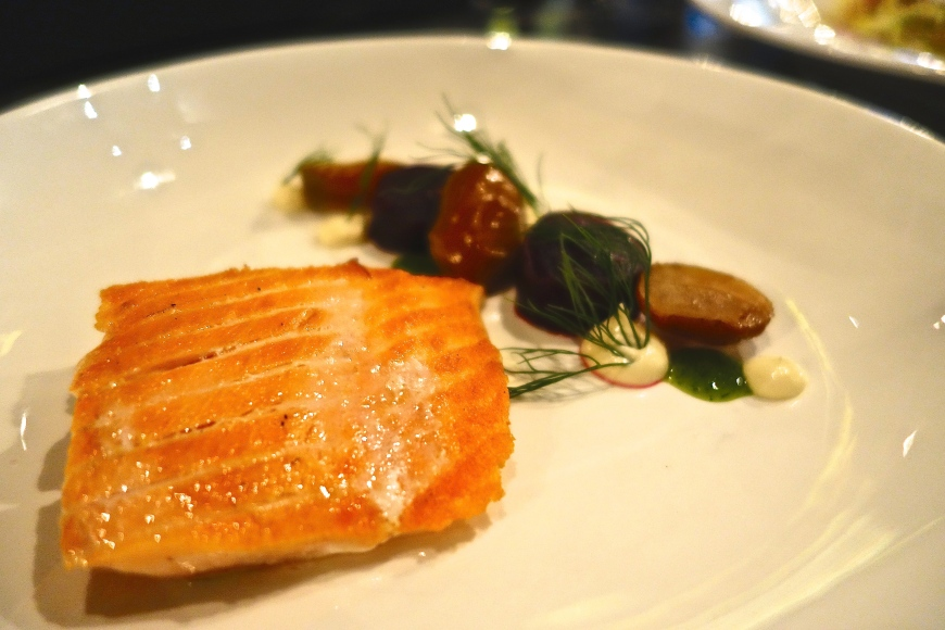 Confit of Salmon - Salt baked beet, tiny potatoes, horseradish cream, dill