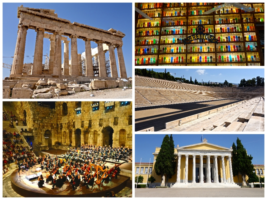 Athens sightseeing (clockwise from top left): the Parthenon, Brettos Bar in Plaka, the Panathenaic Stadium, the Zappeion, the Odeon of Herodes Atticus